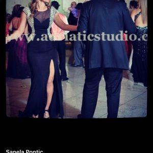 Jovani Dresses - Jovani black stretch sheer & stone gown